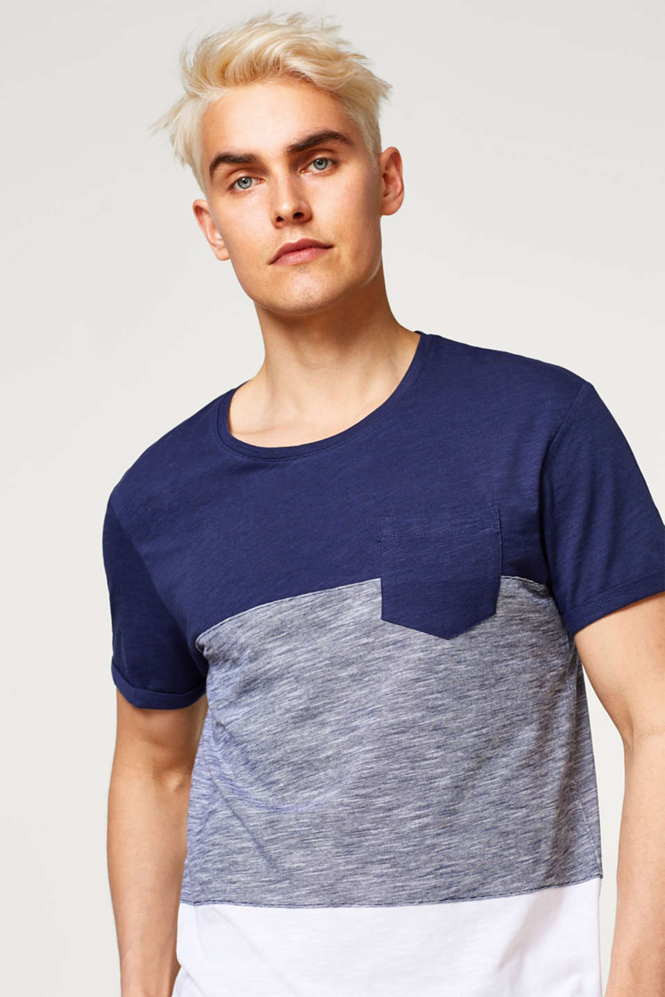 edc - T-shirt with texture mix, in 100% cotton
