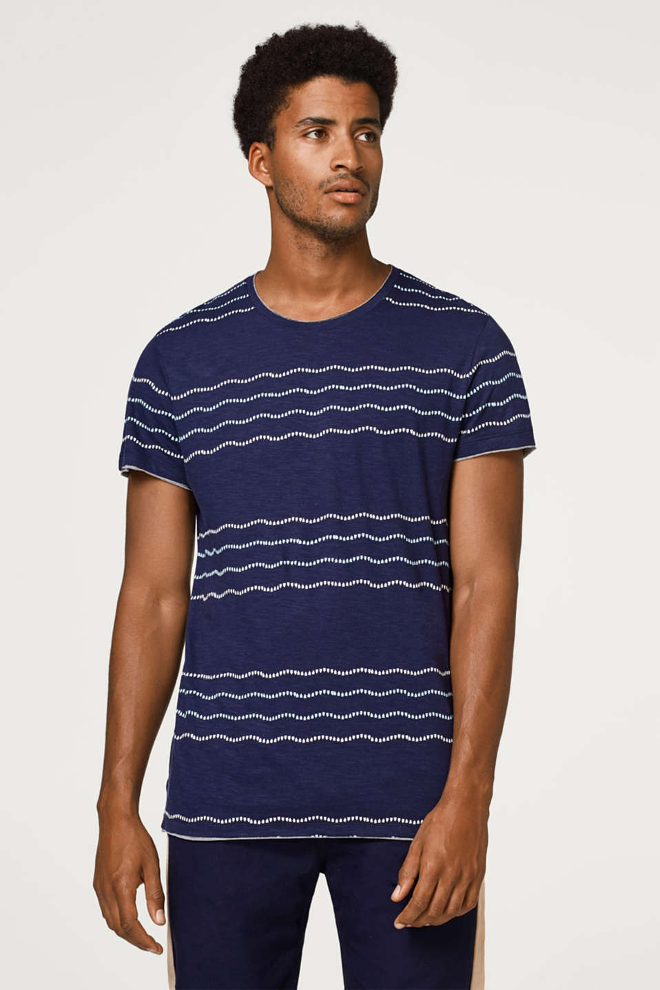 edc - Layer-look jersey T-shirt, with print stripes