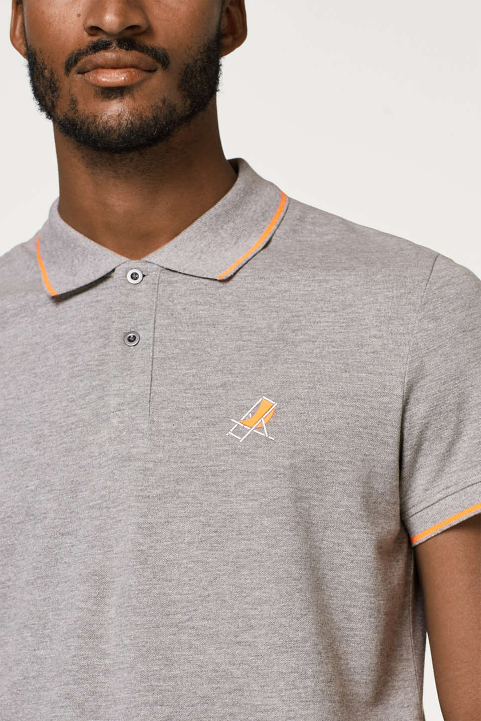 Piqué polo shirt with neon details