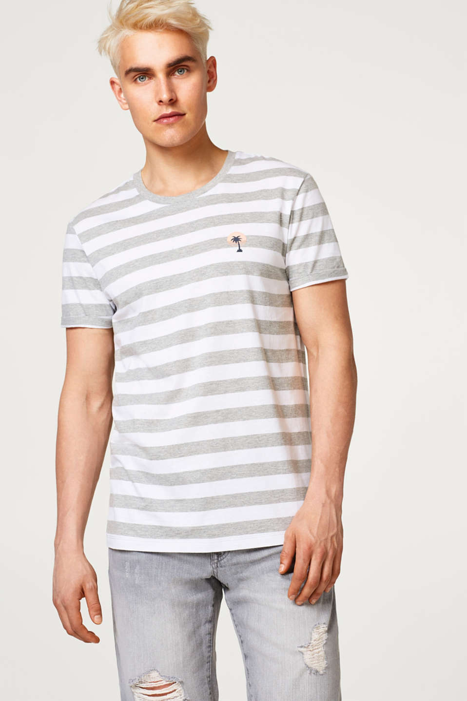 edc - Striped jersey T-shirt with a small print