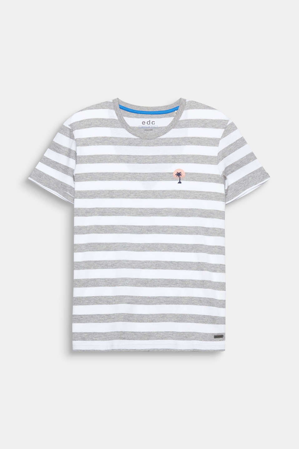 The small palm print on the left-hand side of the chest makes this sporty, striped T-shirt look absolutely stunning.