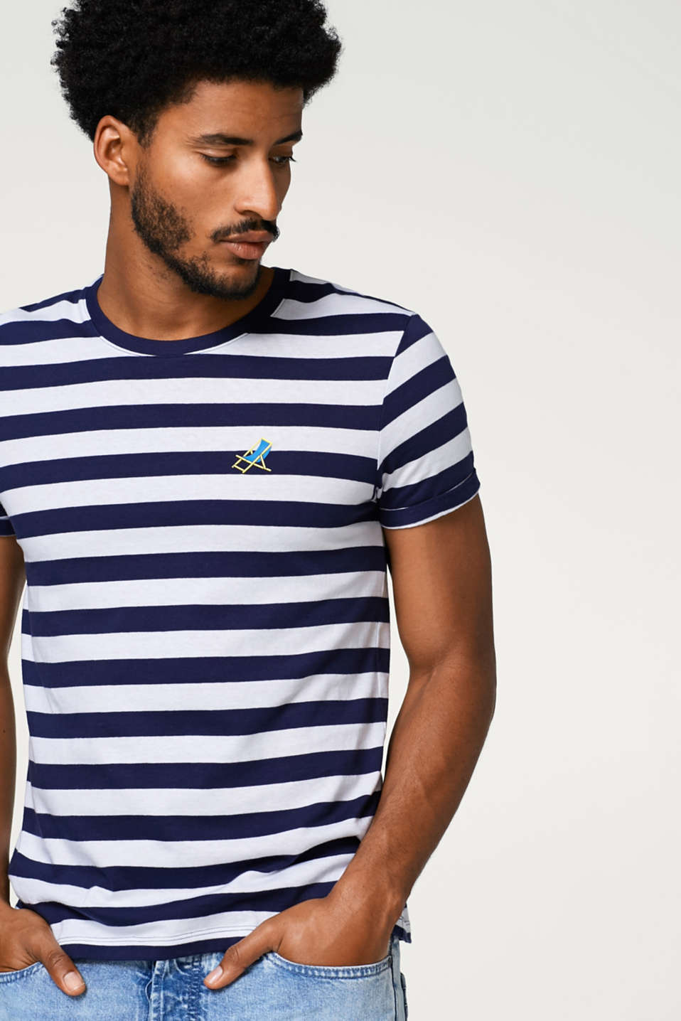 edc - Striped T-shirt with symbol print, in cotton