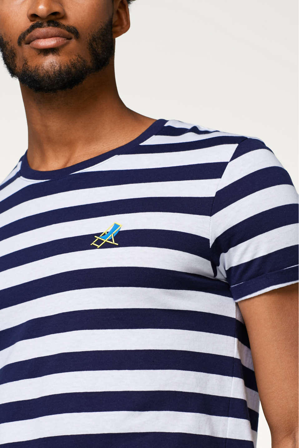 Striped T-shirt with symbol print, in cotton