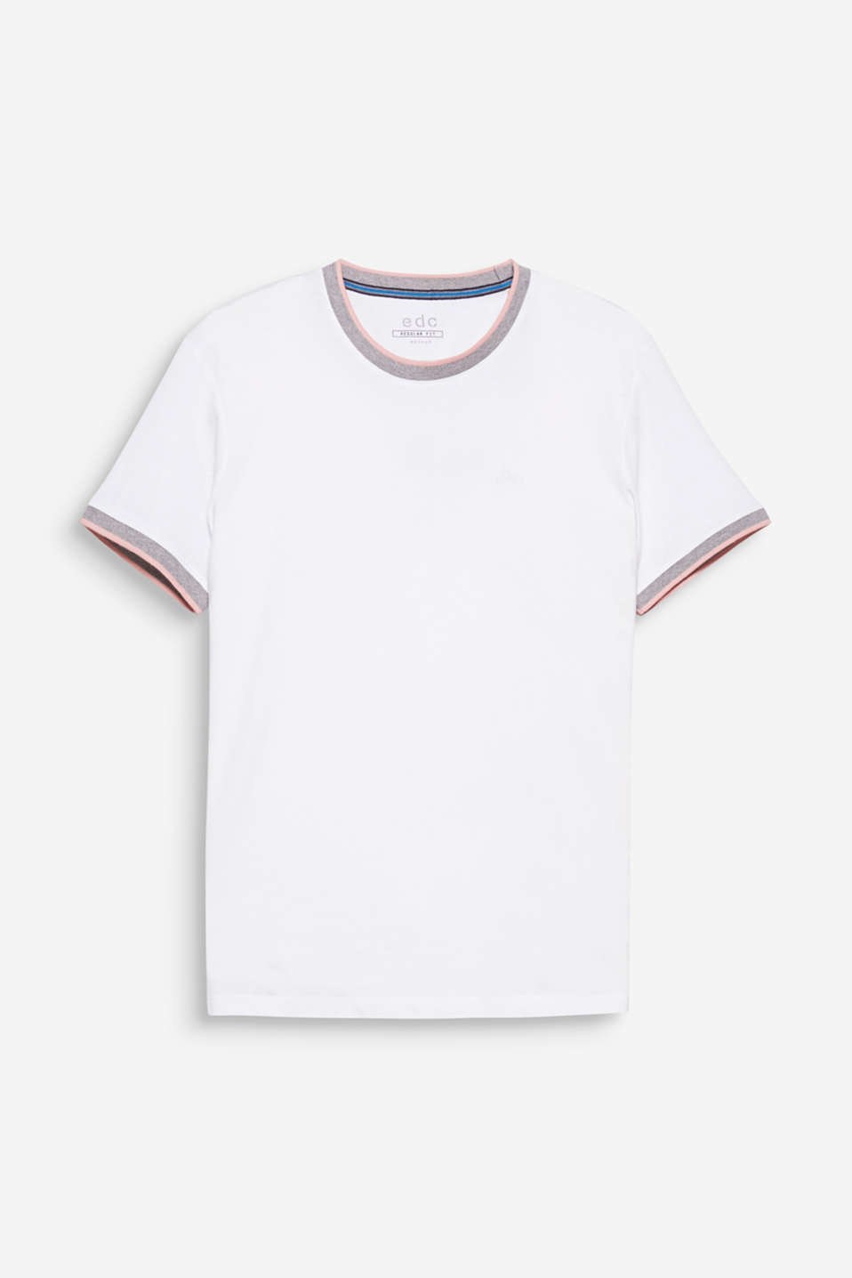 The ribbed round neckline with colourful stripes gives this T-shirt a sporty look.