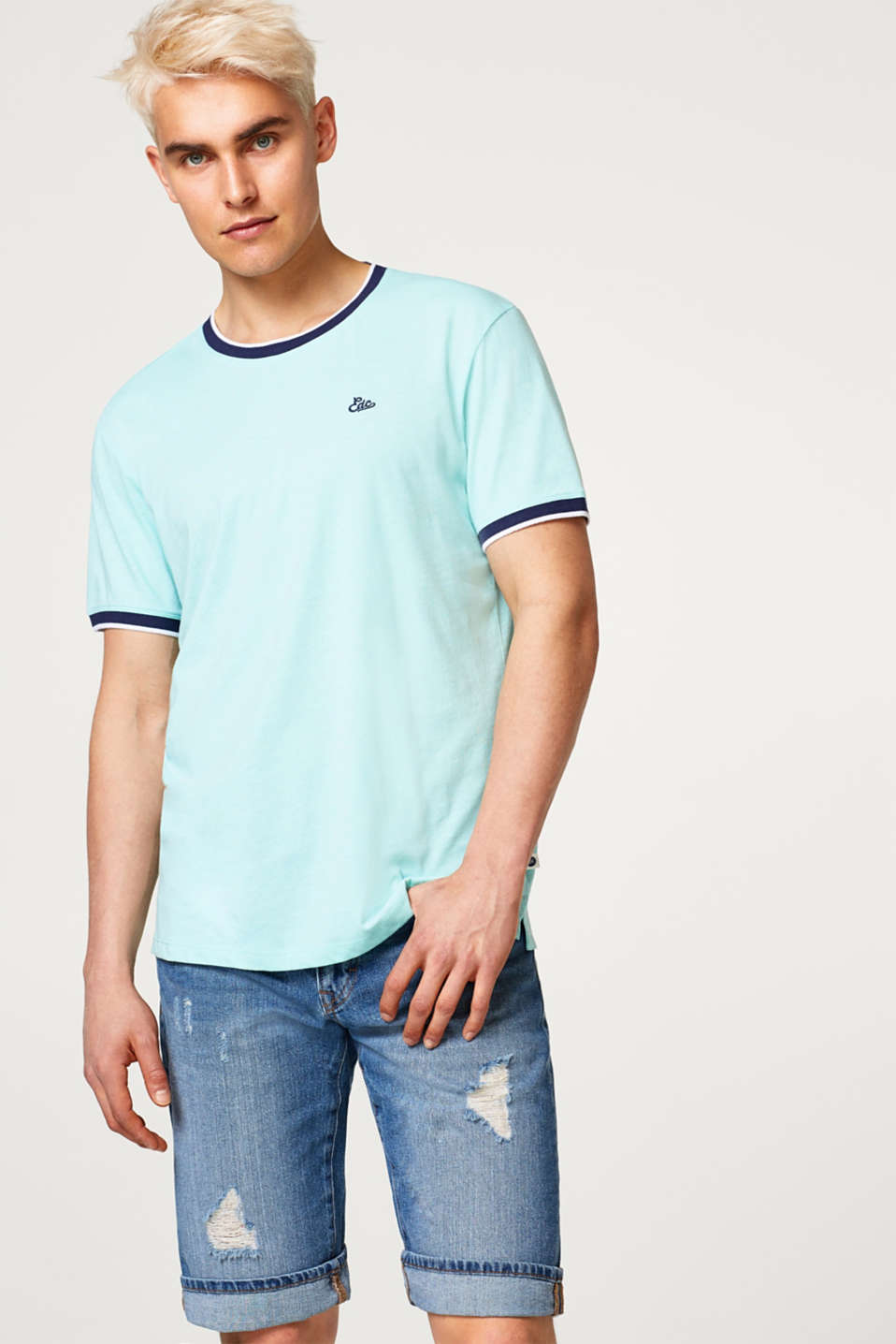 edc - Sporty jersey T-shirt with ribbed borders