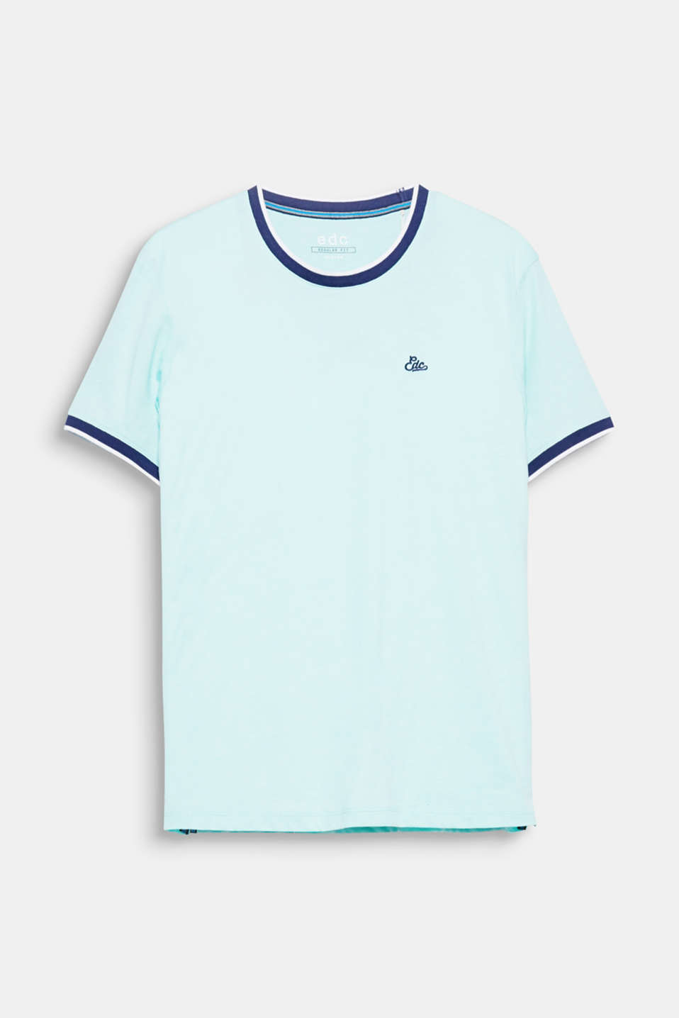 The contrasting colour ribbed borders give this T-shirt a sporty retro look.