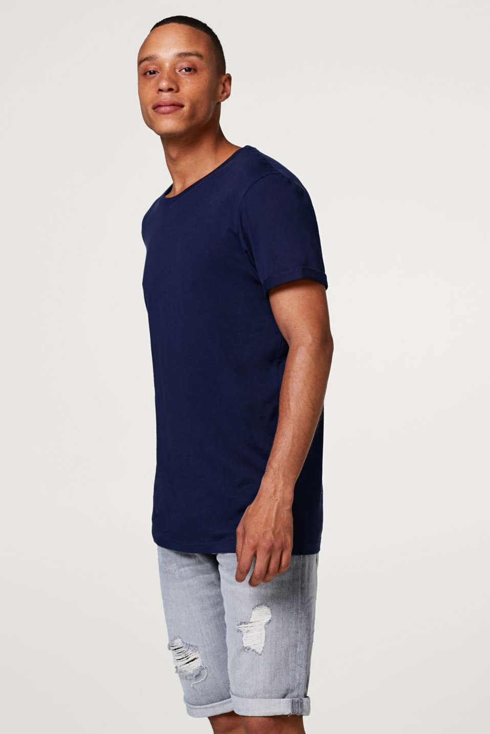 edc - Jersey T-shirt with fixed sleeve turn-ups
