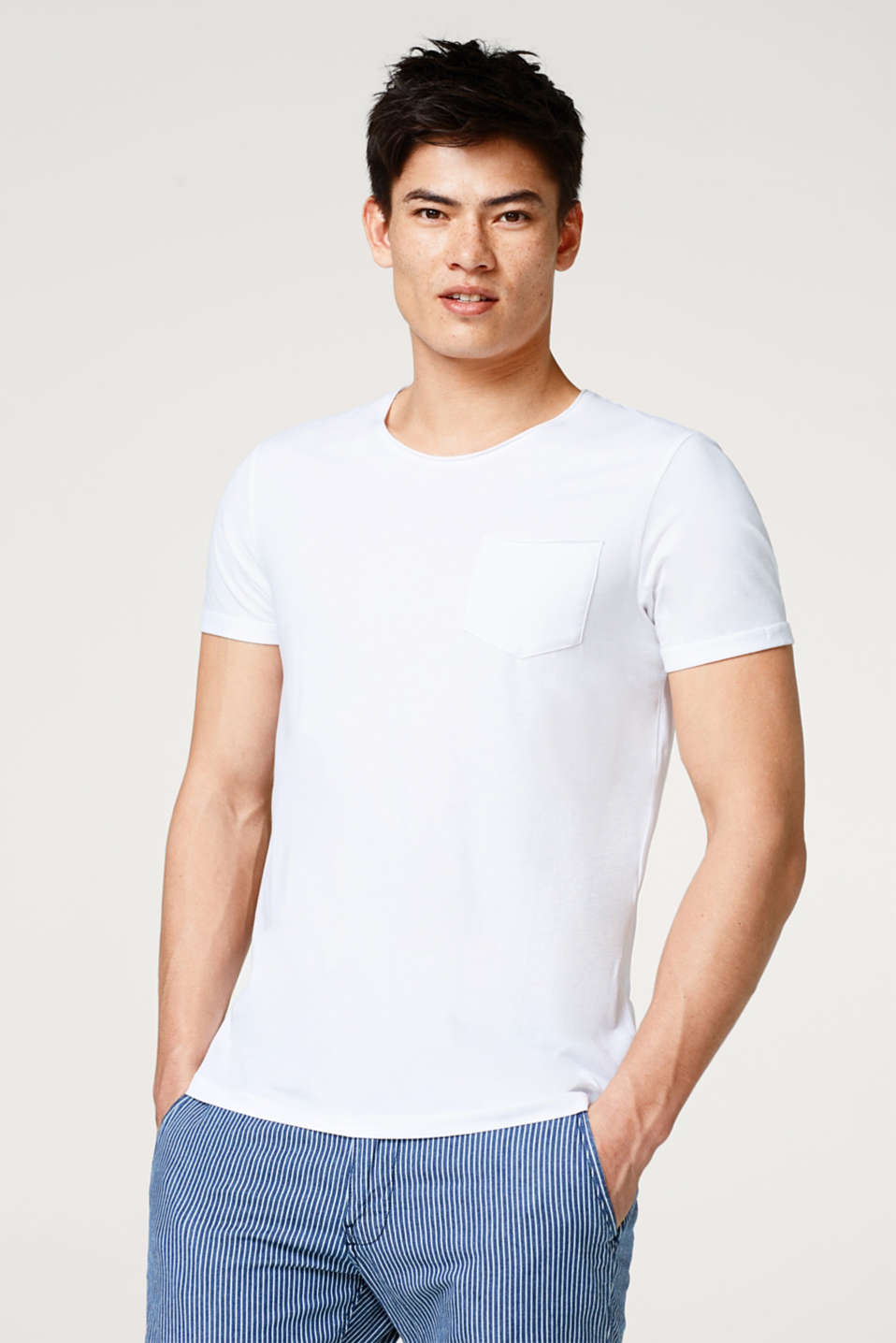 edc - Jersey T-shirt with unfinished edges, in cotton