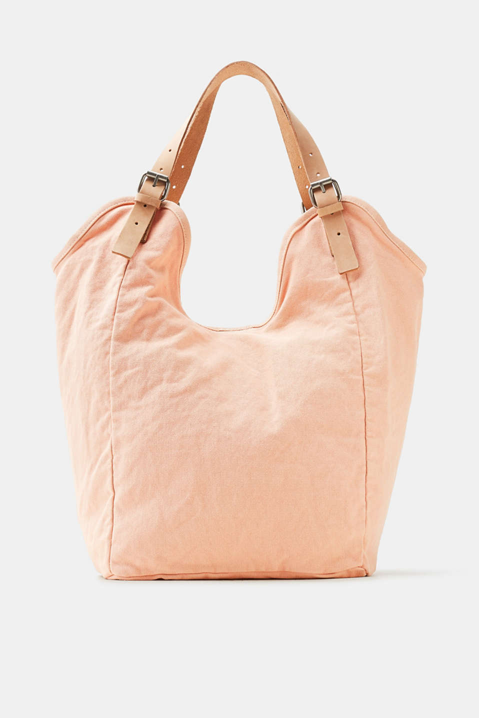 Esprit - Canvas shoulder bag with leather elements