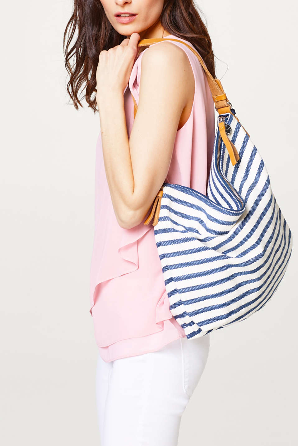 Striped hobo bag made of cotton