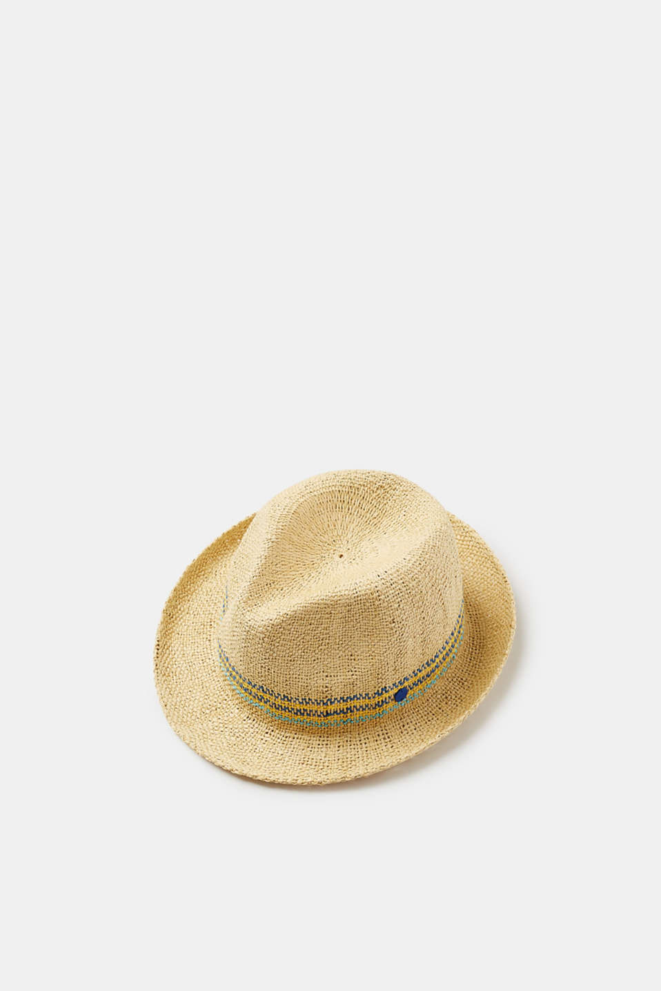 Super airy with decorative textured stripes - this lightweight straw hat fascinates with the sophisticated integration of colourful braiding.