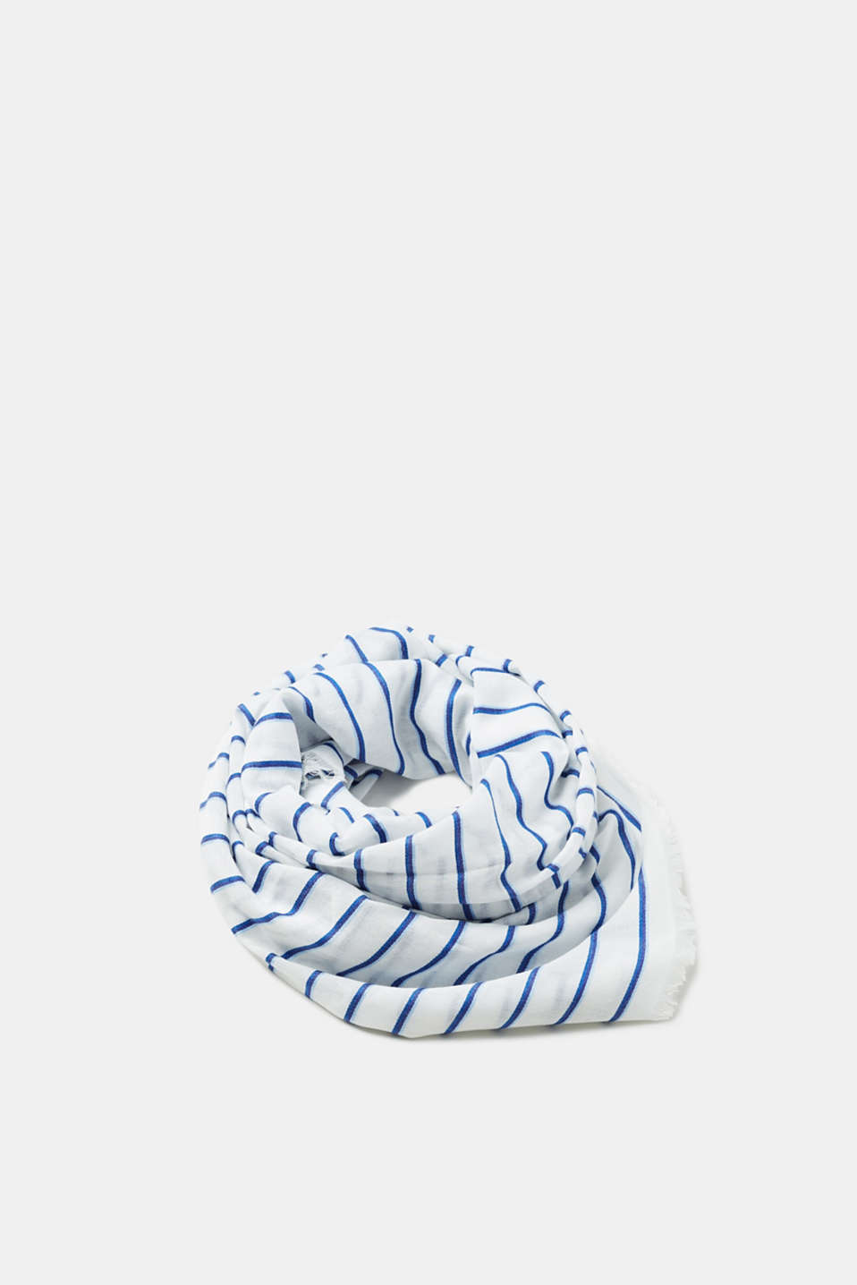Esprit - Woven striped scarf in blended cotton