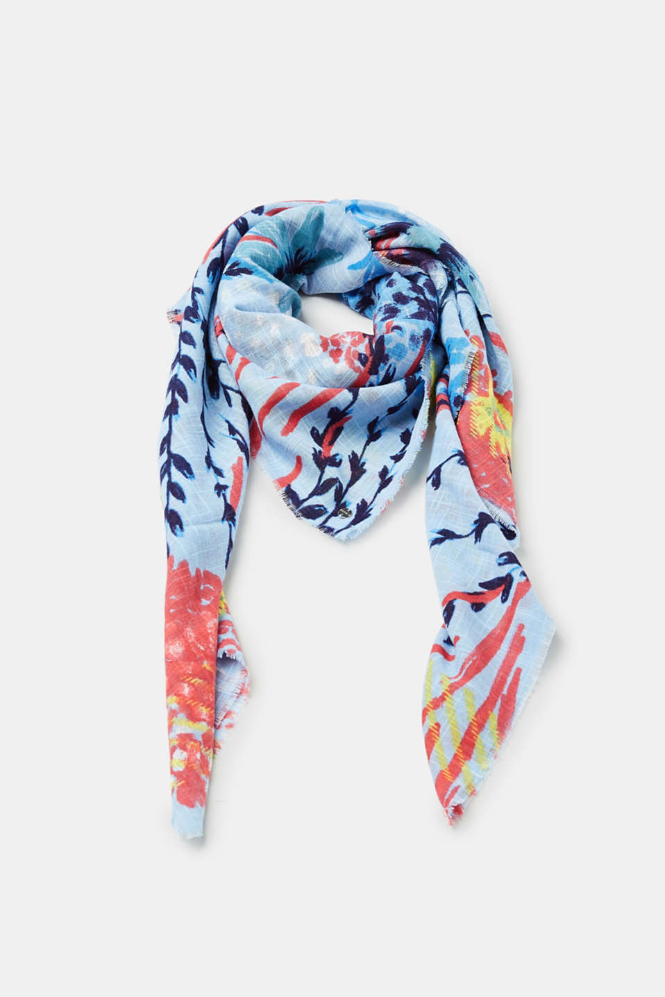 Scarf with a colourful floral print