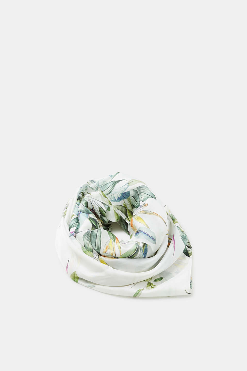 Esprit - Scarf with a fine floral print, in pure silk