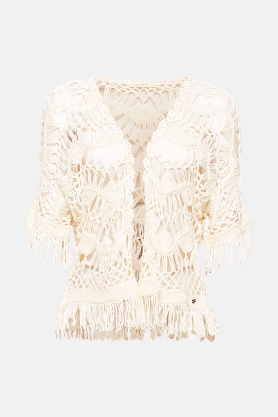 One of a kind! The exquisite, hand-stitched crochet pattern transforms this poncho into an airily light and totally unique fave
