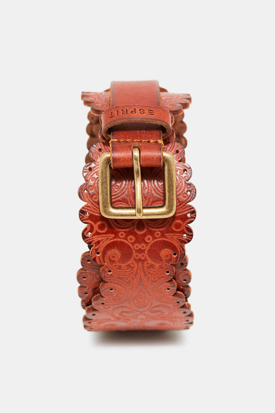 Esprit - Leather belt with an ornament pattern
