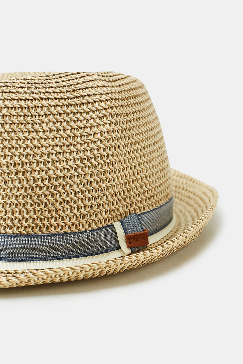 Trilby straw hat with a fabric band