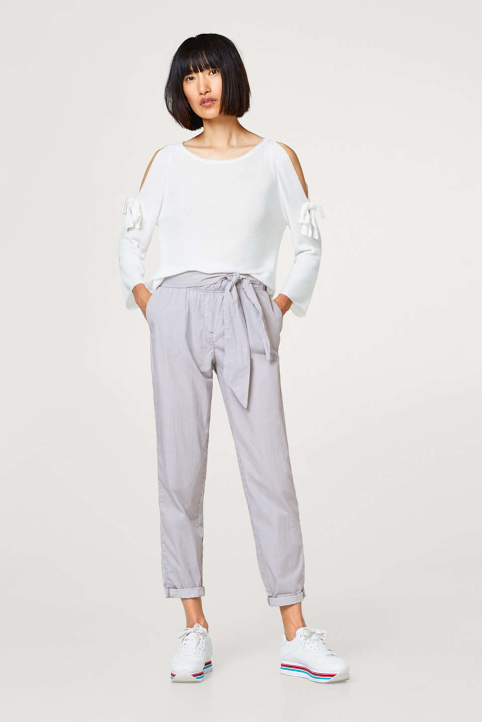 Esprit - Tracksuit bottoms with a bow detail, 100% cotton