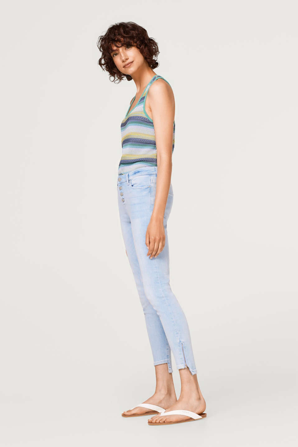 Esprit - Stretch jeans with a button placket and high-low hems