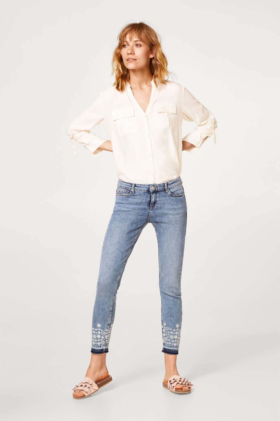 Esprit - Stretch jeans with embroidered leg hems