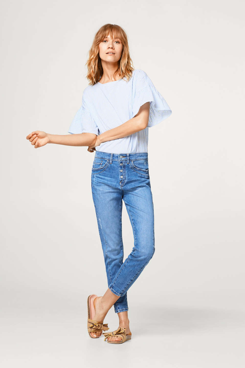 Esprit - Button fly cropped stretch jeans