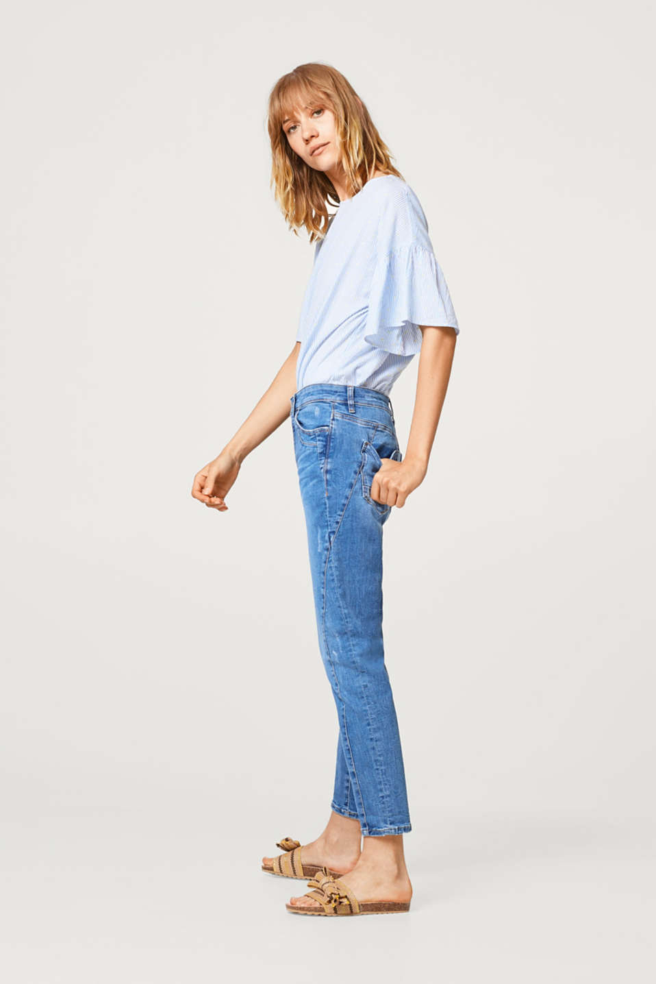 Button fly cropped stretch jeans