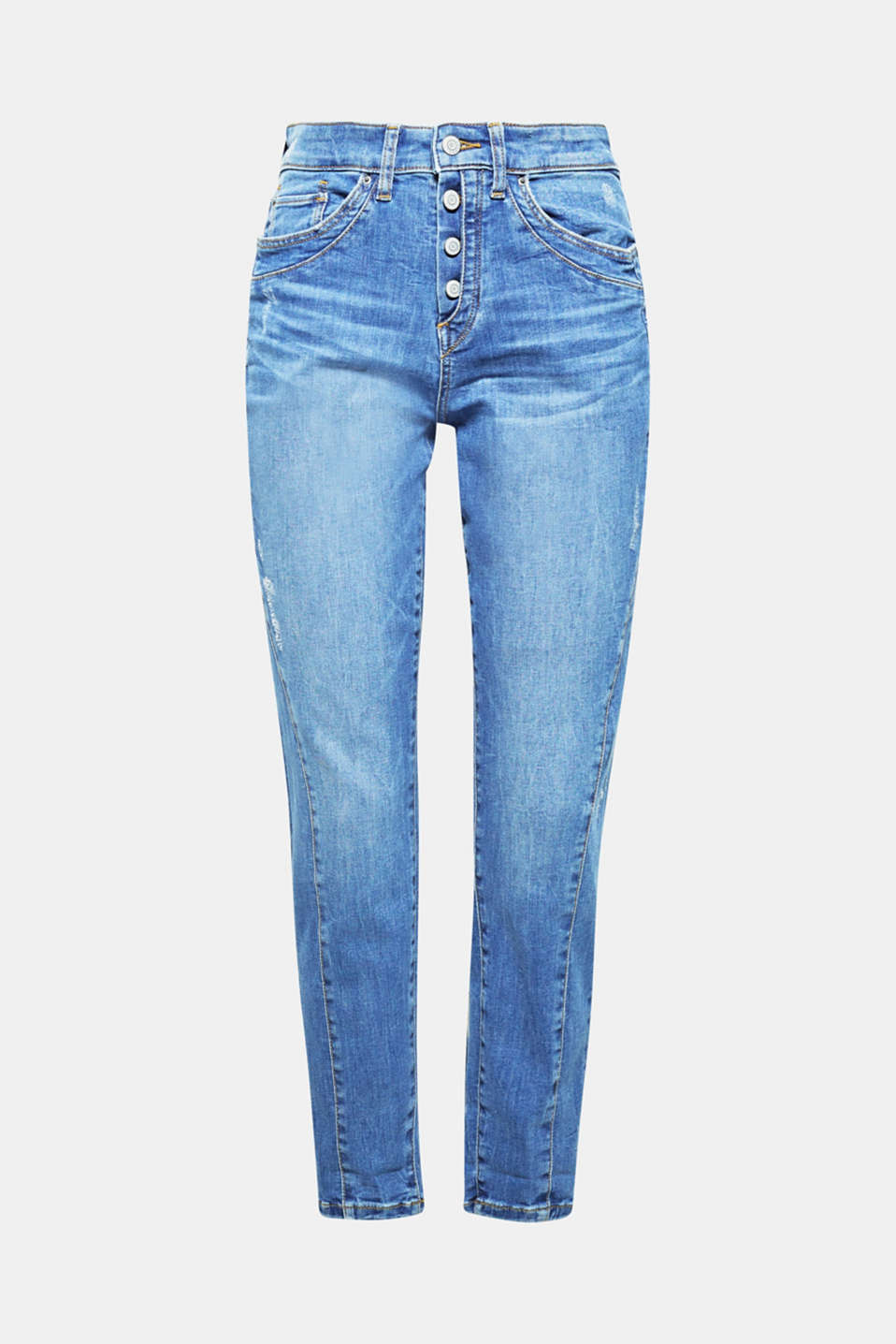 These trendy, ankle-length jeans in a casual finish come with distinctive darts and a button fly for a cool, laid-back look.
