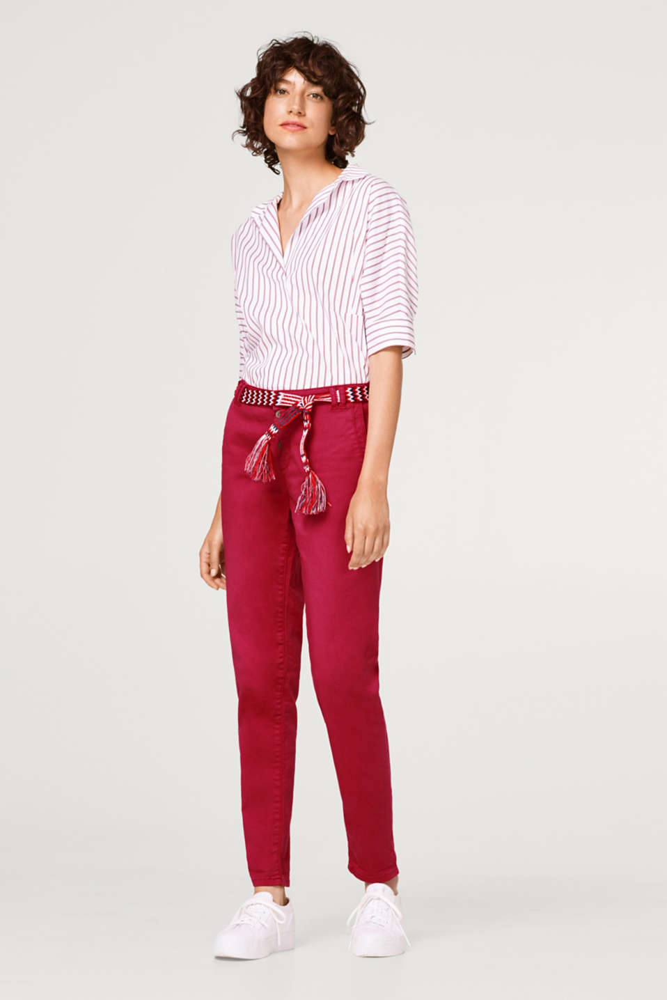 Esprit - Stretch chinos with a button fly and belt