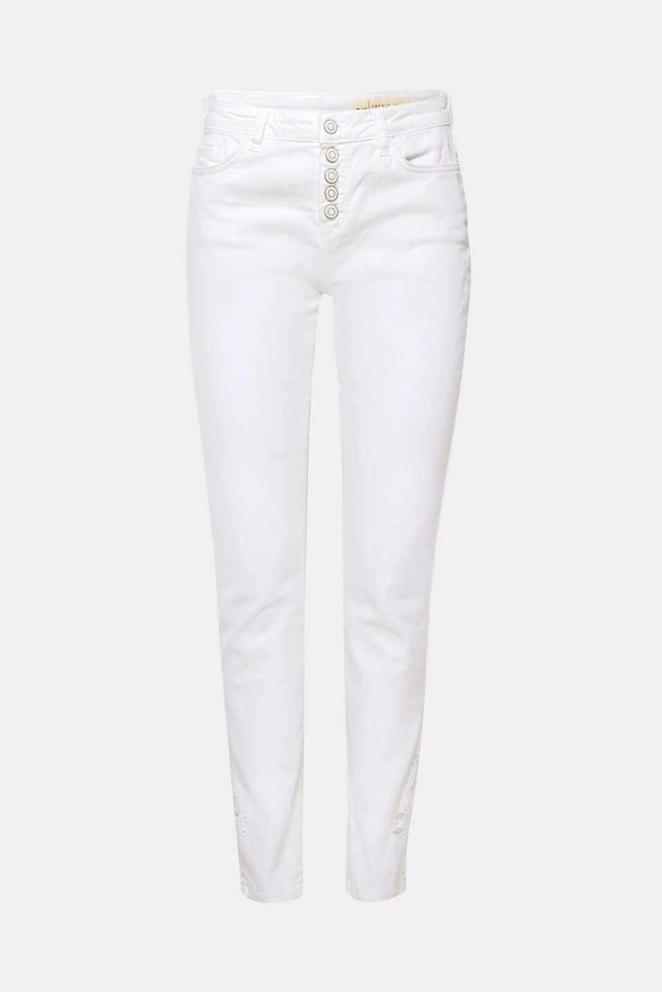 The casual button placket and high-quality broderie anglaise on the outer sides of the leg hems make these white stretch jeans the perfect summer denim style!