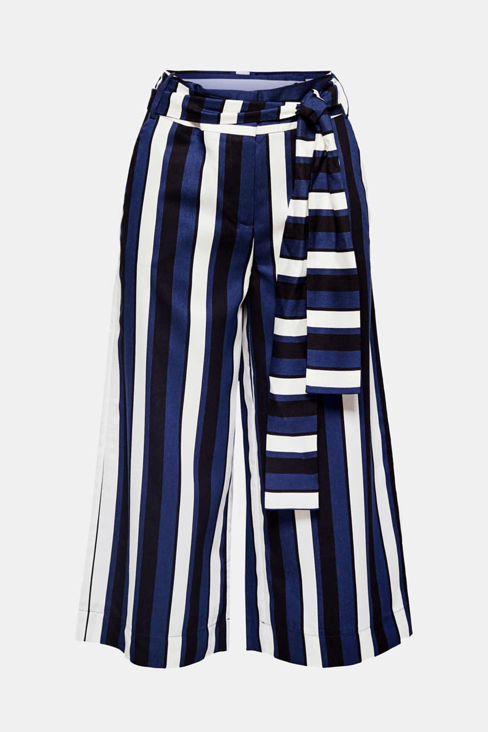 Vertical block stripes, wide tie belt and subtle matte-shiny effects make these wide leg culottes a stylish summer piece!