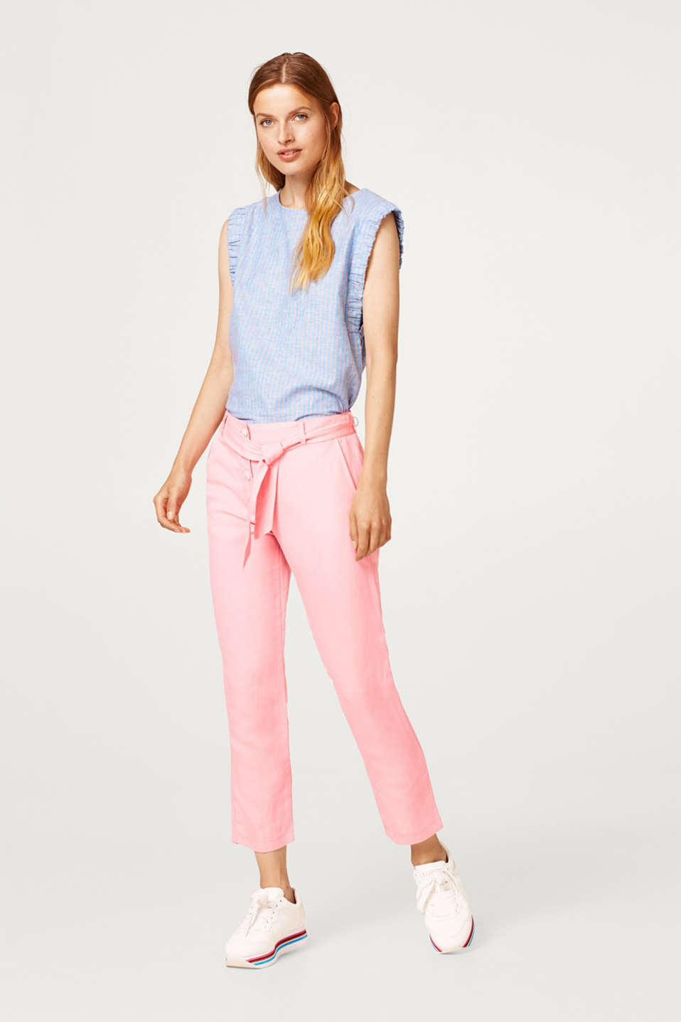 Esprit - Linen blend: trousers with a button placket