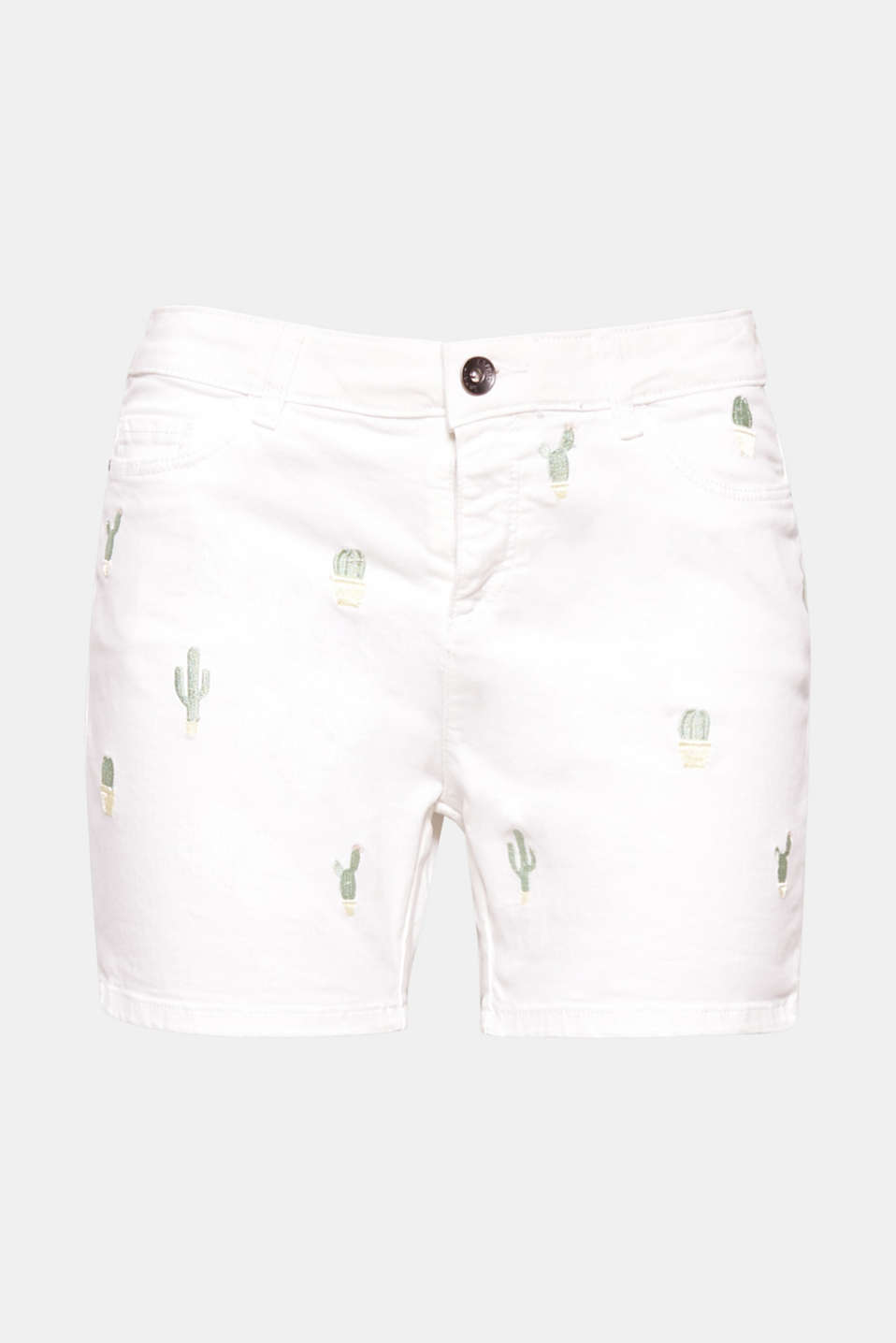 The embroidered cacti give these soft cotton shorts their special look with added stretch for comfort!