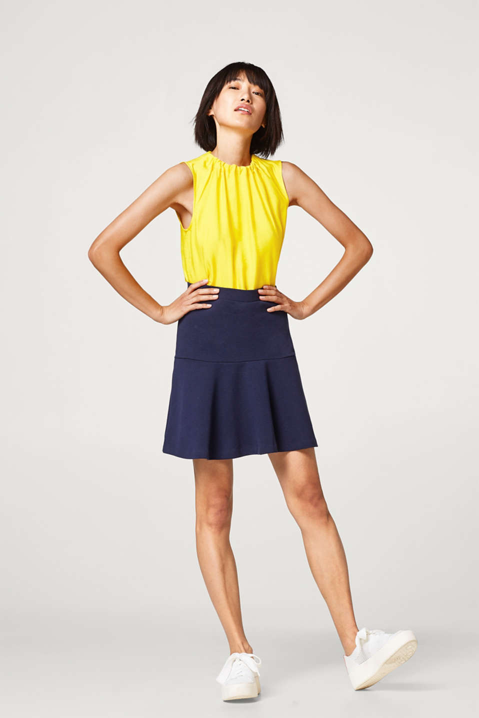 Esprit - Flared mini skirt, in blended cotton