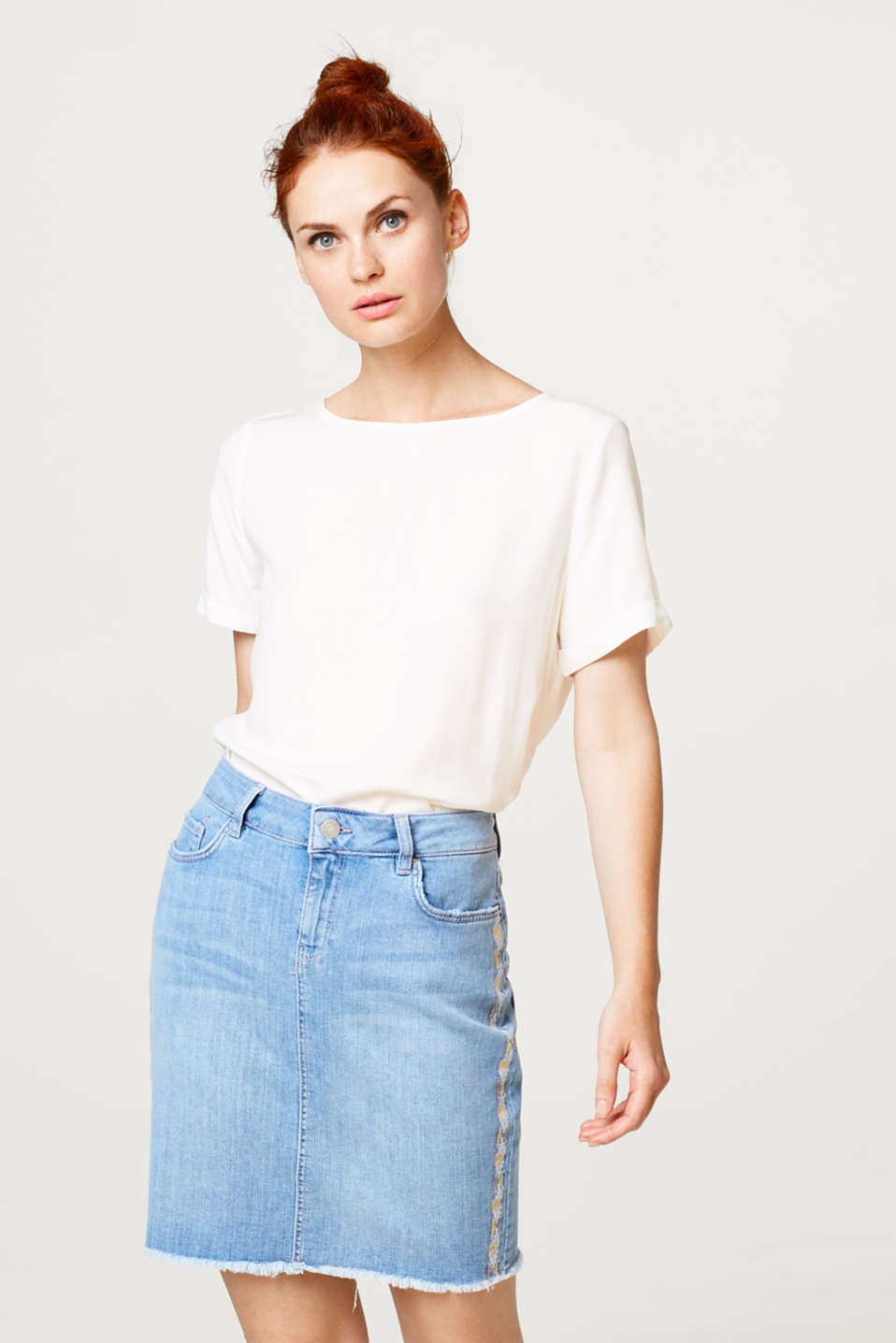 Esprit - Stretch denim skirt with embroidery