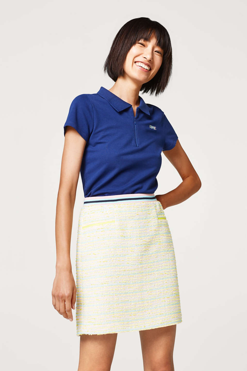 Esprit - Summery bouclé skirt with a sporty ribbed waistband