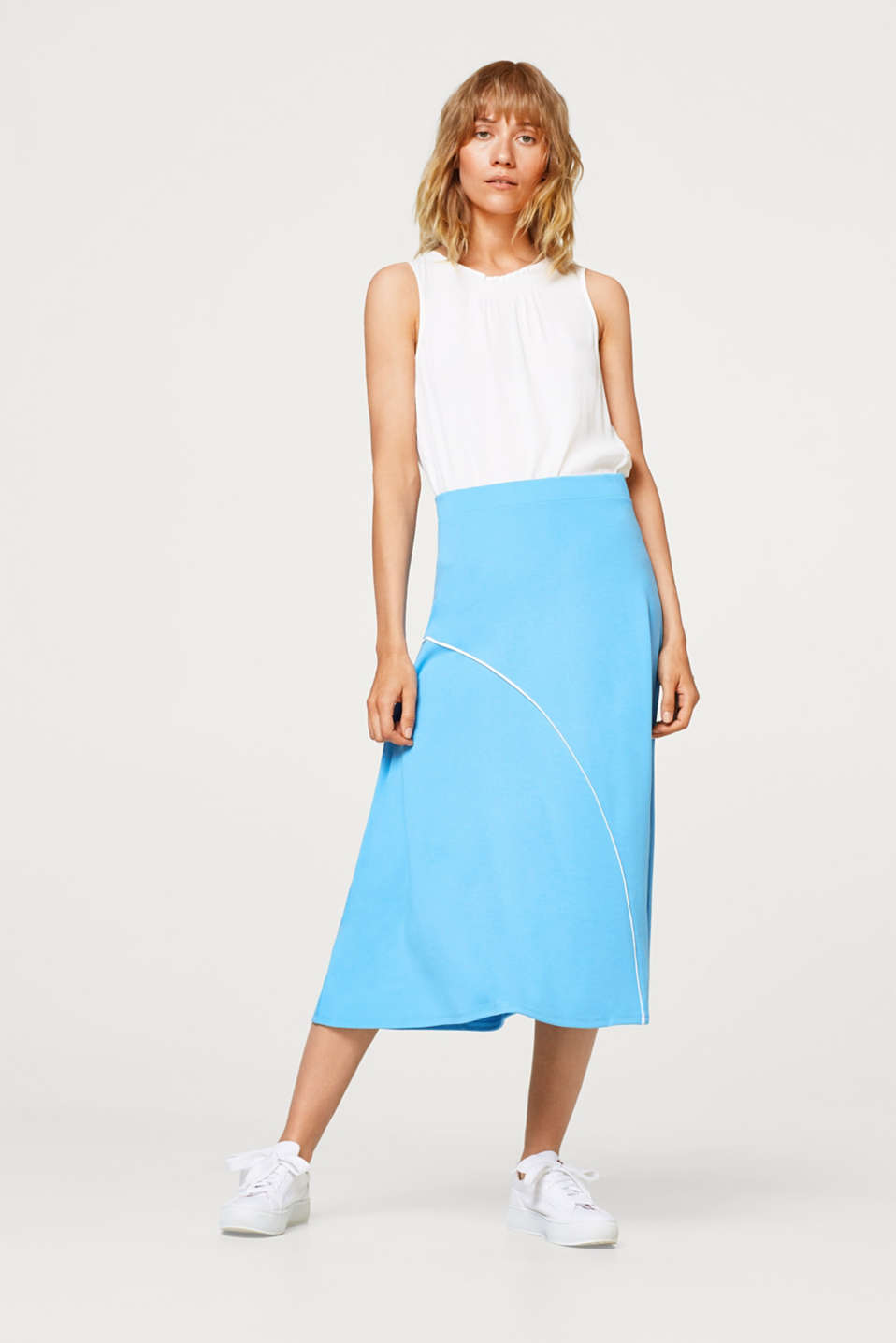 Esprit - Midi skirt made of thick jersey with piping