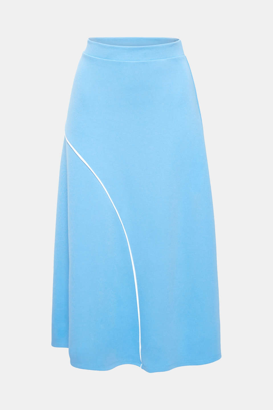 We love retro – not to mention this wonderful, swirling midi skirt made of thick jersey with added stretch for comfort and sporty piping!