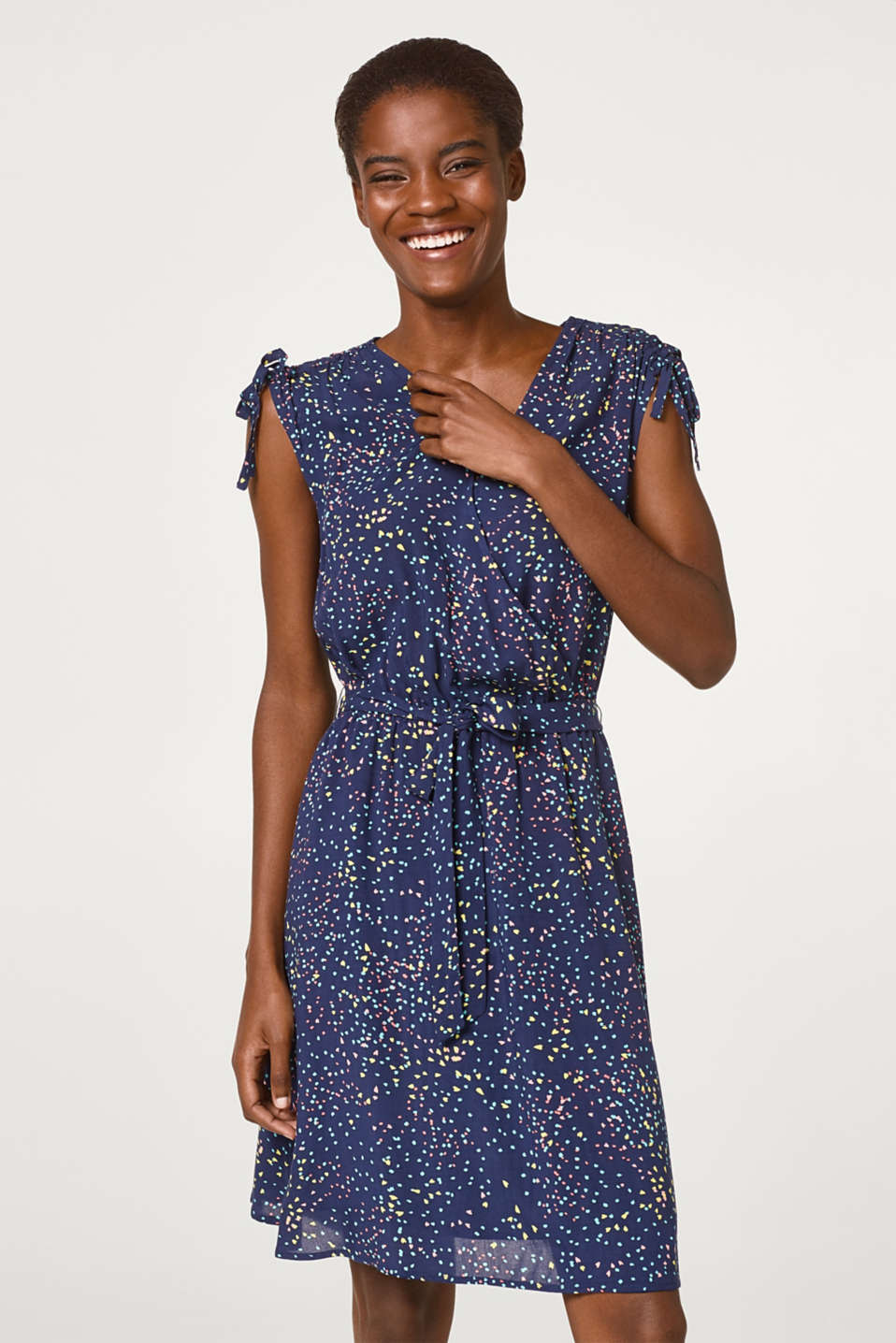 Esprit - Flowing wrap dress with decorative print