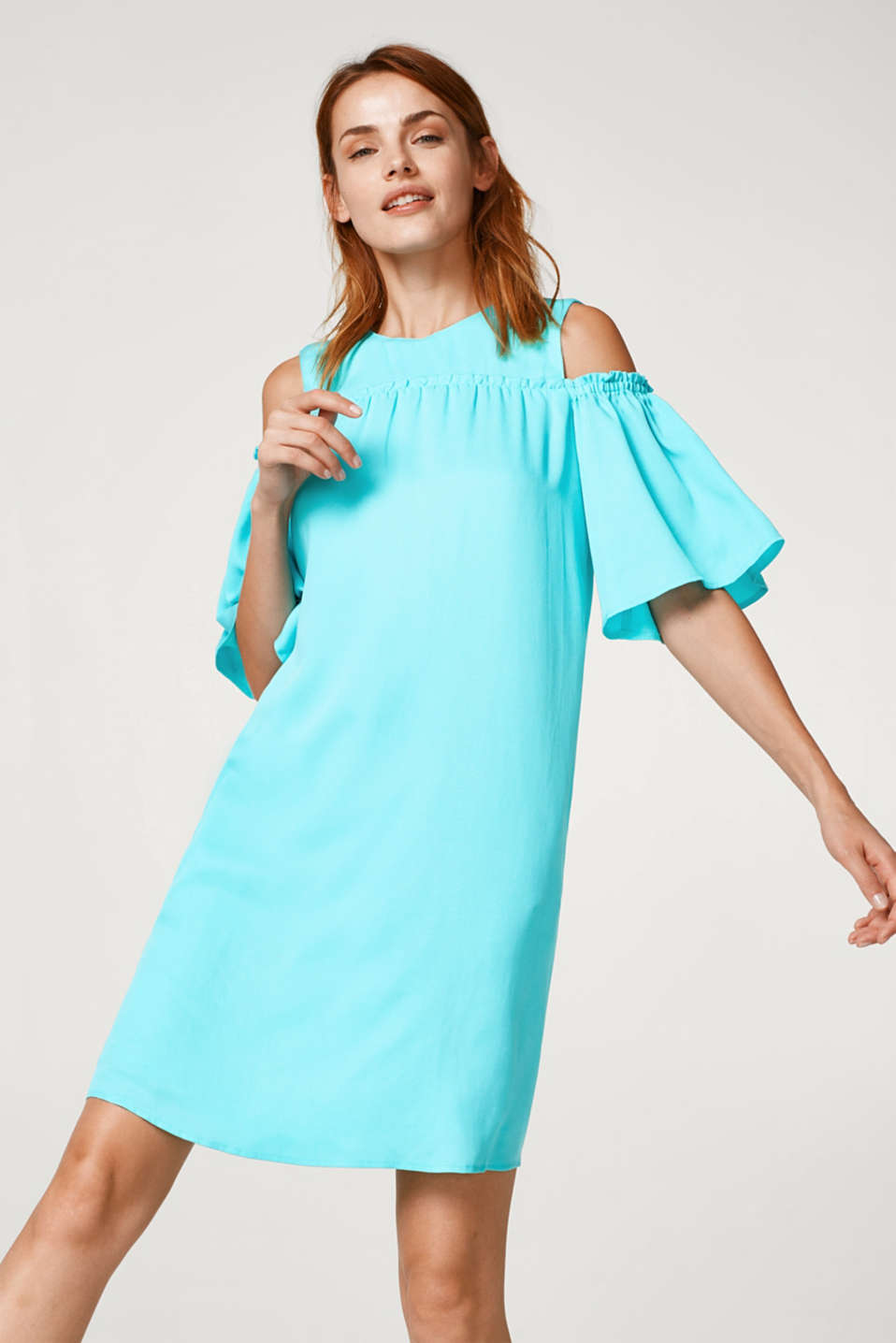 Esprit - Cold-shoulder dress made of textured lyocell