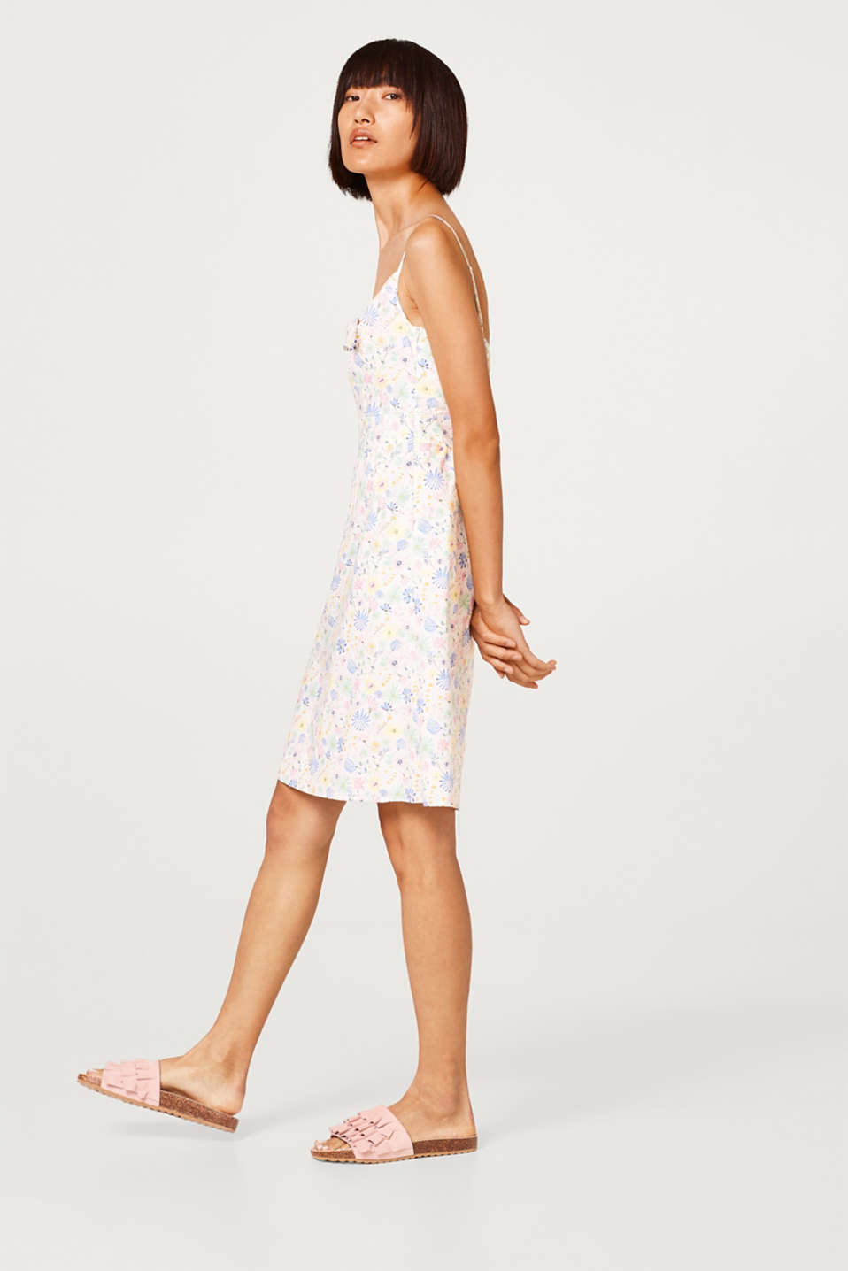 Printed bow detail dress in stretch cotton