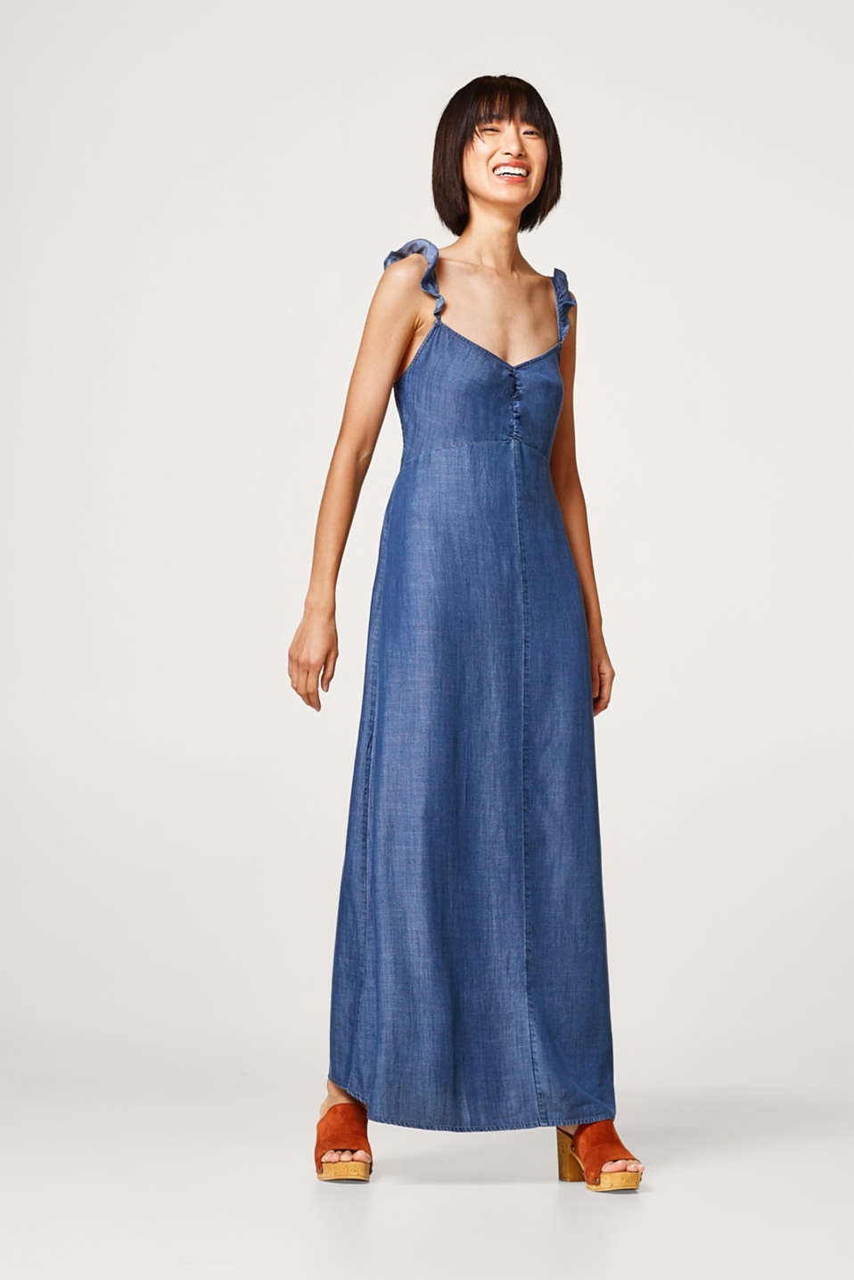 Esprit - Maxi dress in lightweight lyocell with flounce straps