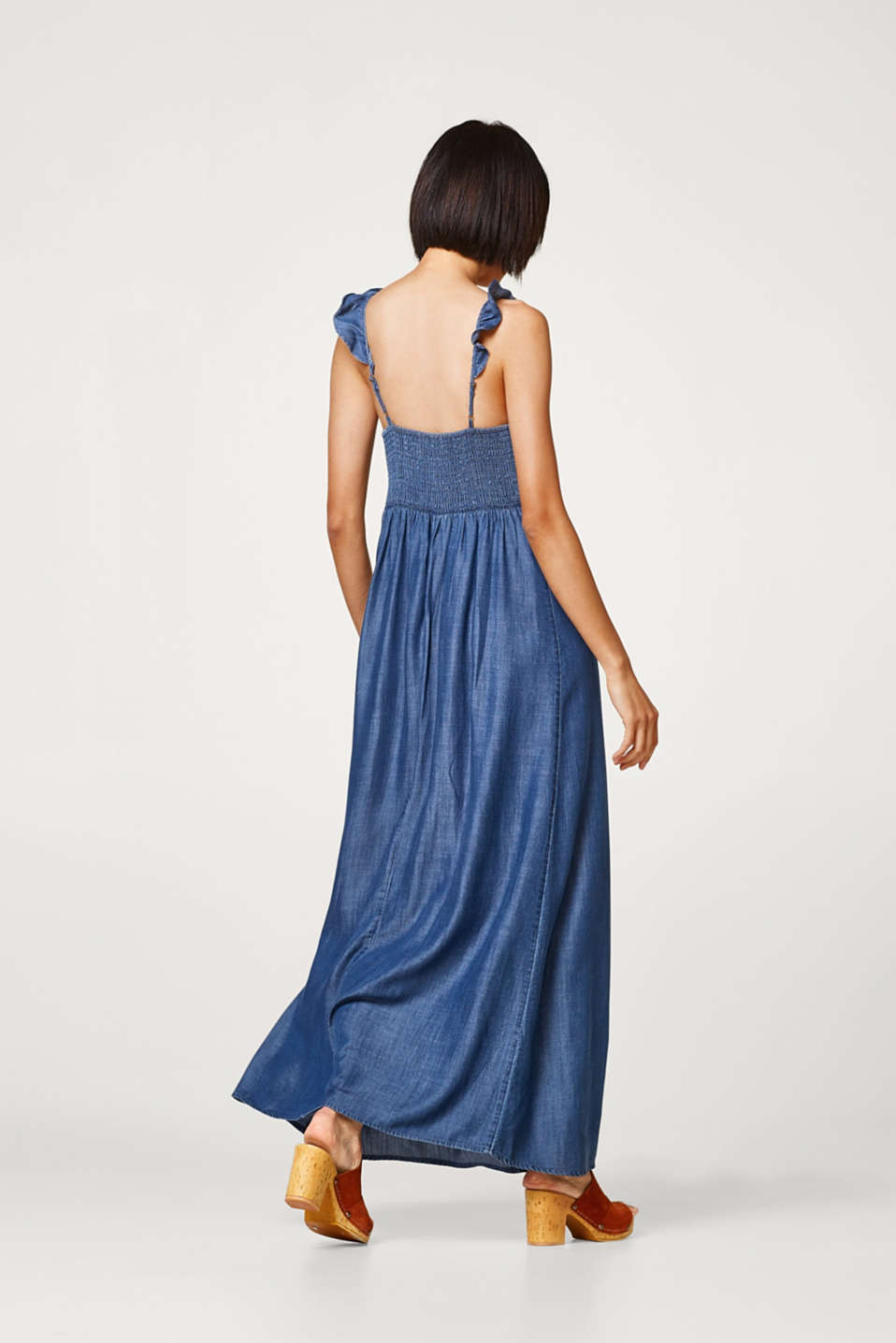Maxi dress in lightweight lyocell with flounce straps