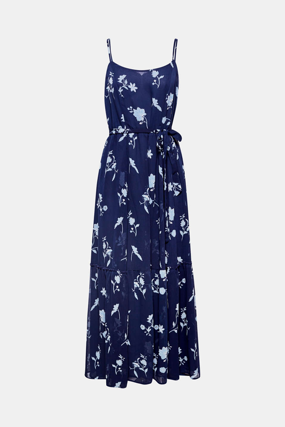 Ooh la la: this maxi dress made of soft, crushed chiffon featuring a floral print, adjustable spaghetti straps, a tie-around belt and swirling hem frill has got it all when it comes to fantastic fashion details!