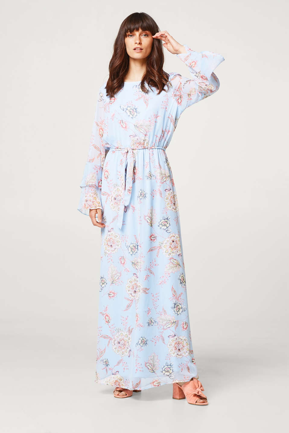 Esprit - Crinkled chiffon maxi dress with flounce sleeves