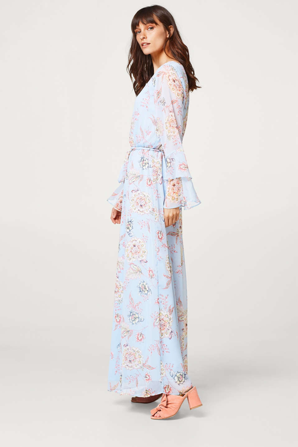 Crinkled chiffon maxi dress with flounce sleeves