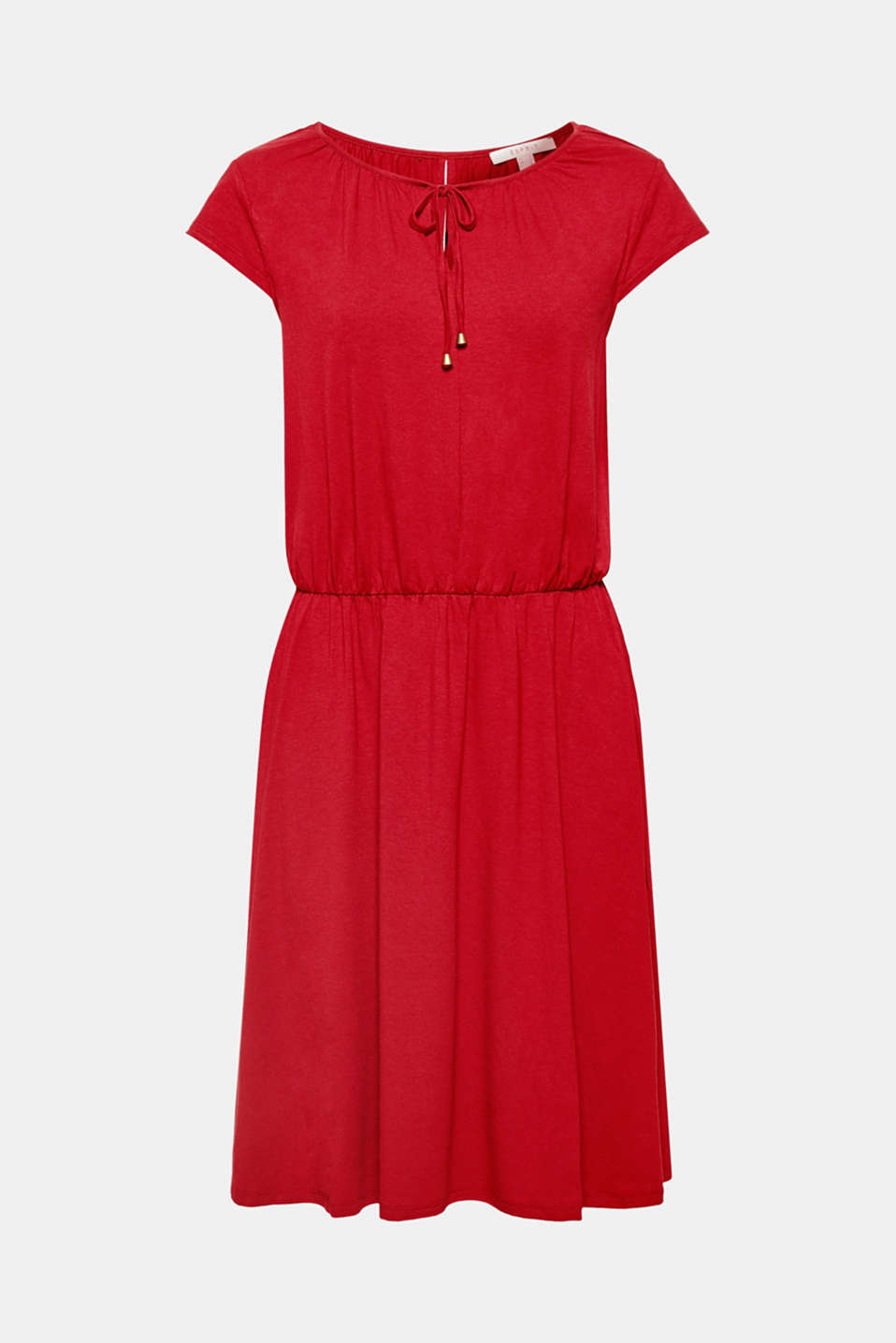 This simple stretch jersey dress with a wide neckline, cropped sleeves and a swirling skirt is unbeatably comfortable and great for many occasions!