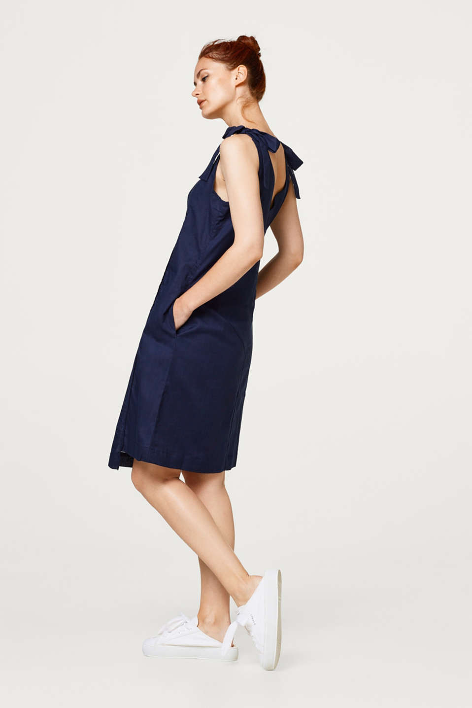 Dress with bow straps, 100% cotton