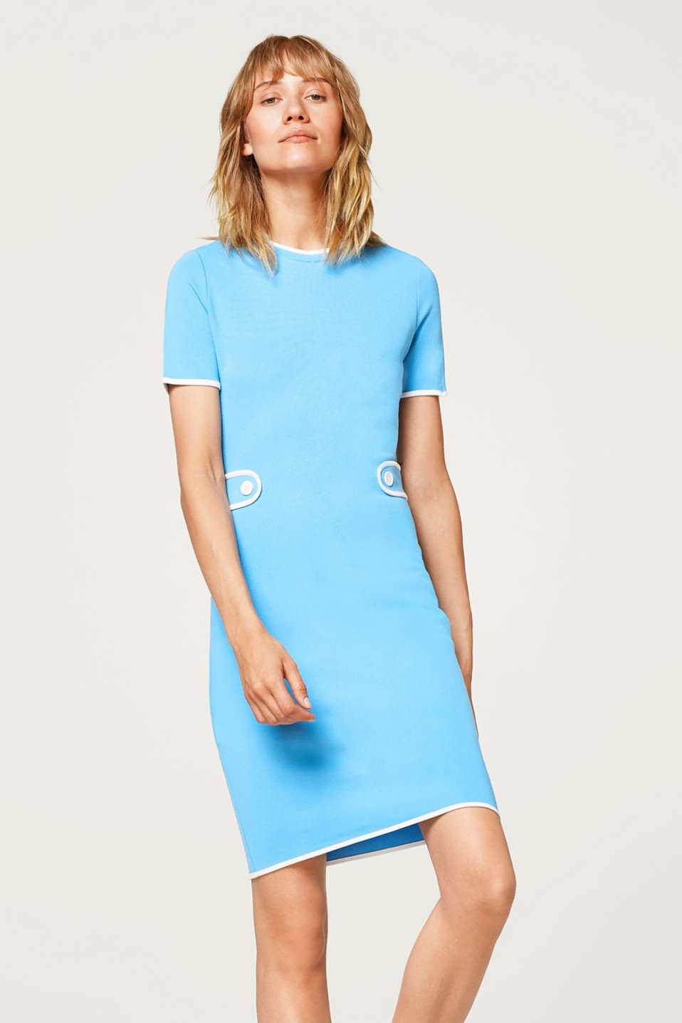 Esprit - Piped dress in a retro look, stretch jersey