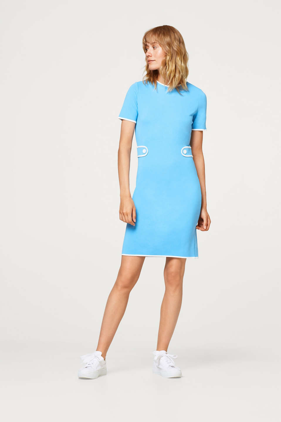 Piped dress in a retro look, stretch jersey