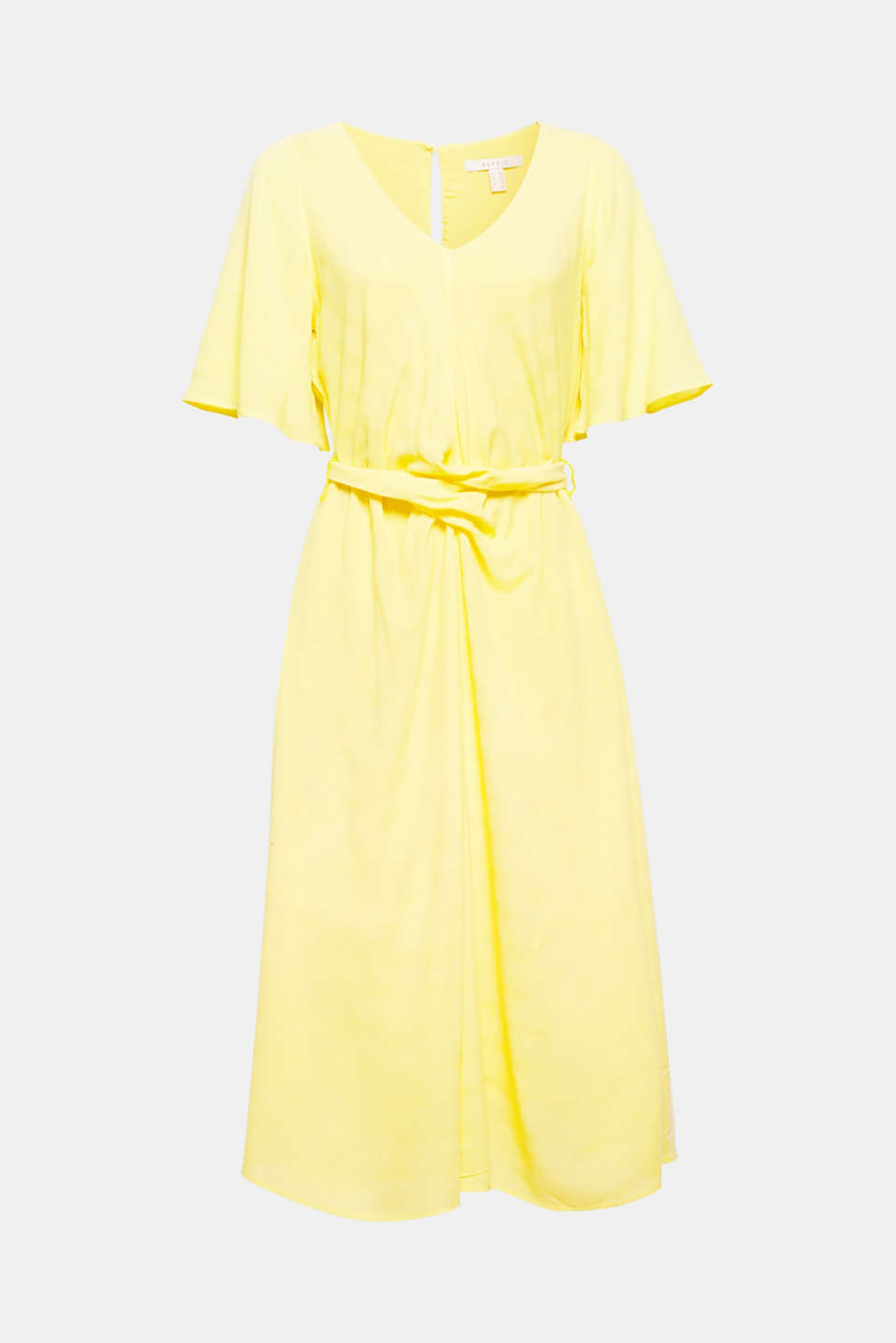 This stylish summer dress combines a wonderful colour, fabric with a summery texture, fashionable cap sleeves and a waist-accentuating sash! Must-have!